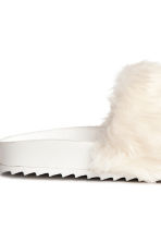 Slides with faux fur - White - Ladies | H&M 4
