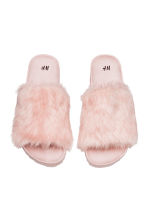 Slides with faux fur - Powder pink - Ladies | H&M CN 2