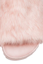 Slides with faux fur - Powder pink - Ladies | H&M CN 3