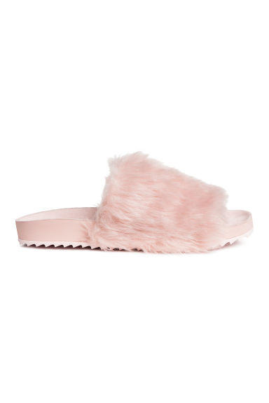 Slides with faux fur - Powder pink - Ladies | H&M GB