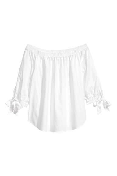 Off-the-shoulder cotton blouse - White - Ladies | H&M 1
