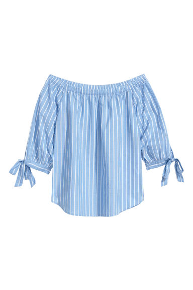 Off-the-shoulder cotton blouse - Blue/Striped - Ladies | H&M 1