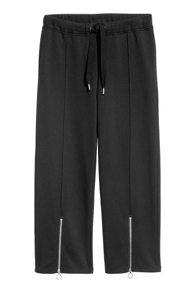Sweatpants with a zip - Black - Ladies | H&M