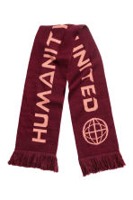 Jacquard-knit scarf - Burgundy - Ladies | H&M GB 2
