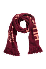 Jacquard-knit scarf - Burgundy - Ladies | H&M GB 1