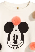 Sweatshirt with pompoms - White/Mickey Mouse - Ladies | H&M CN 2