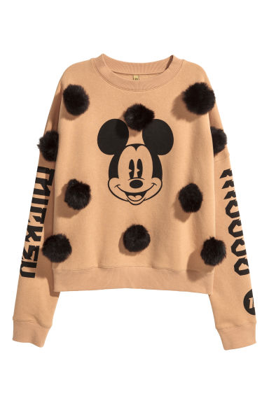 Sweat-shirt avec pompons - Camel/Mickey - FEMME | H&M BE