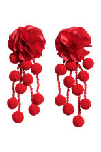 Pompom earrings - Red - Ladies | H&M 1