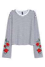 Jersey top with embroidery - Dark blue/Striped - Ladies | H&M 2