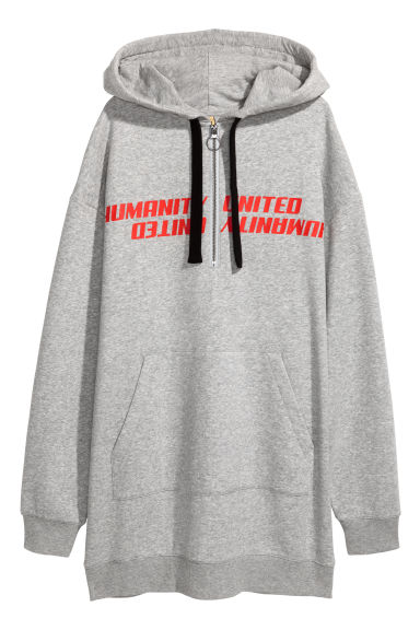 Oversized hooded top - Light grey marl - Ladies | H&M CN