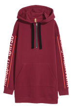 Oversized hooded top - Burgundy - Ladies | H&M IE 1