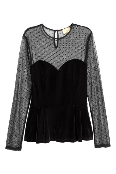 Velours top - Zwart -  | H&M BE