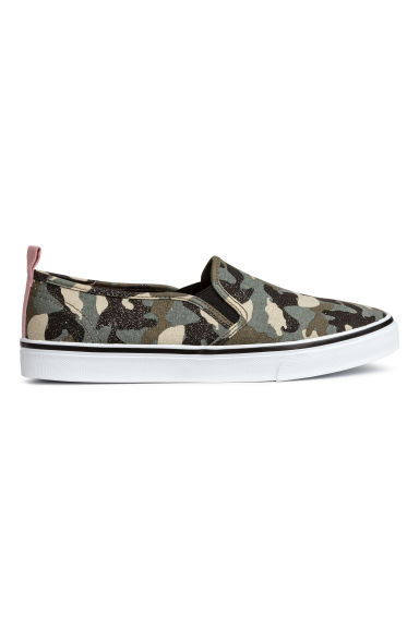 Slip-on Shoes - Khaki green/patterned - Ladies | H&M CA 1