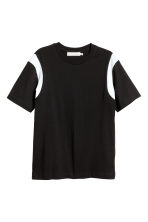 Cotton jersey T-shirt - Black/White - Men | H&M IE 1