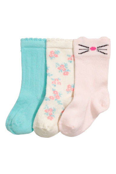 3-pack knee socks - Pink/Turquoise/White - Kids | H&M 1