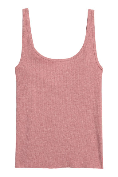 Ribbed vest top - Old rose/Marled - Ladies | H&M CN