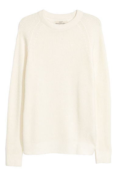 Ribbed jumper - Natural white - Men | H&M