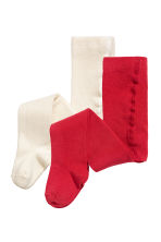 2-pack fine-knit tights - Red -  | H&M CN 1