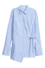 Asymmetric cotton blouse - White/Blue striped - Ladies | H&M GB 2