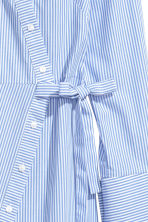 Asymmetric cotton blouse - White/Blue striped - Ladies | H&M GB 3