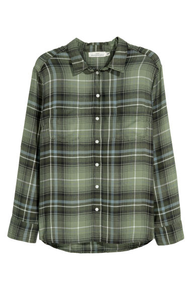 H&M+ Flannel shirt - Green/Checked - Ladies | H&M