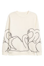 H&M+ Embroidered sweatshirt - Natural white/Swans - Ladies | H&M 2