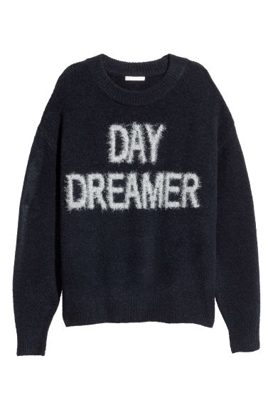 Knitted jumper - Dark blue/Glittery - Ladies | H&M