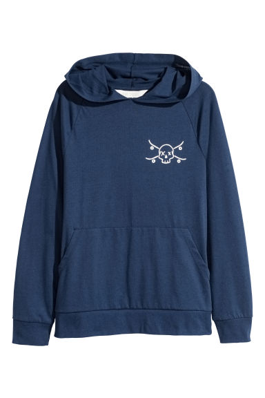Jersey hooded top - Dark blue -  | H&M 1