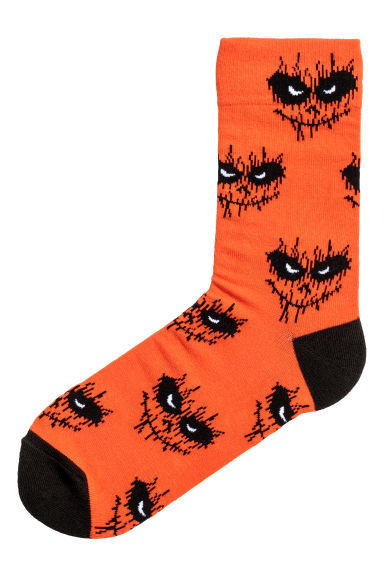Jacquard-knit Socks - Orange/Patterned - Men | H&M