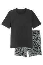 Pajama T-shirt and Shorts - Black melange - Men | H&M CA 2