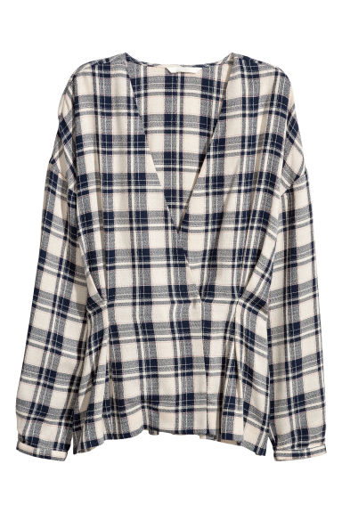 Double-breasted blouse - Natural/Blue checked - Ladies | H&M IE