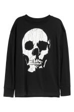 Printed jersey top - Black/Skull -  | H&M 2