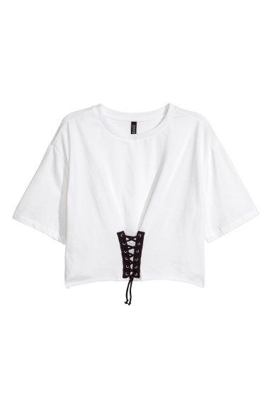Top avec laçage - Blanc - FEMME | H&M FR