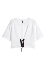 Top with lacing - White - Ladies | H&M 2