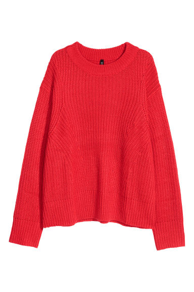 Ribbed jumper - Bright red - Ladies | H&M