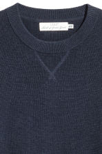Textured-knit cotton jumper - Dark blue - Men | H&M 3