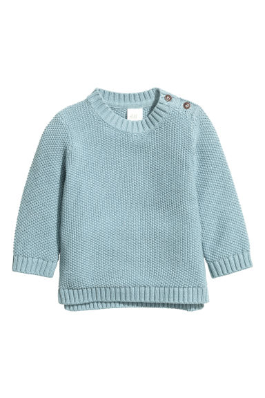 Textured-knit jumper - Blue -  | H&M CN