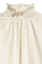 Silk blouse with smocking - White - Ladies | H&M 4
