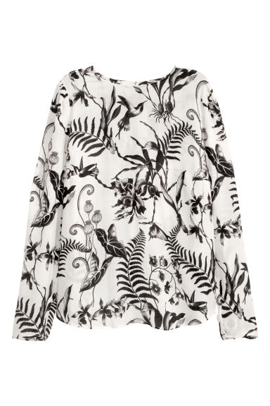 H&M+ Blouse - White/Black patterned - Ladies | H&M IE
