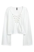 Jersey top with lacing - White -  | H&M 2