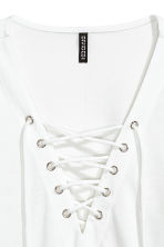 Jersey top with lacing - White -  | H&M CN 3