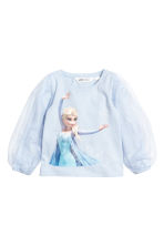 Jersey top with tulle sleeves - Light blue/Frozen - Kids | H&M CN 2