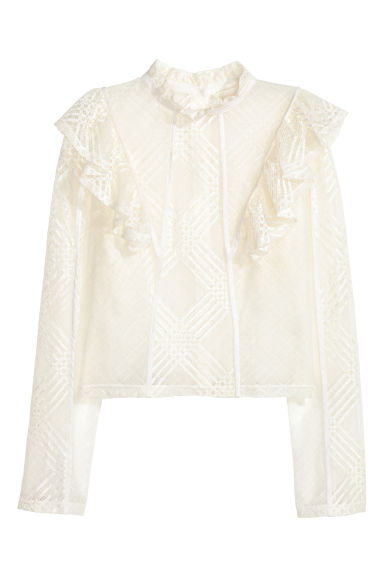Lace blouse - White -  | H&M GB