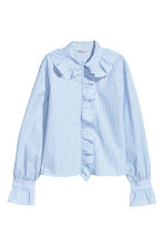 Shirt with frills - White/Blue striped - Ladies | H&M CN 2