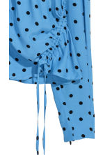 V-neck blouse with drawstrings - Light blue/Black spotted - Ladies | H&M 3