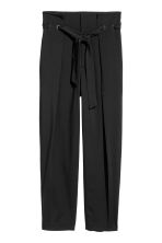 Trousers with a tie belt - Black - Ladies | H&M 2
