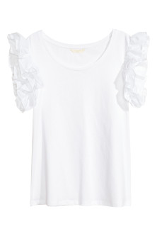 Top with flounced sleeves