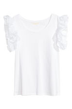 Top met volantmouwtjes - Wit - DAMES | H&M BE 2
