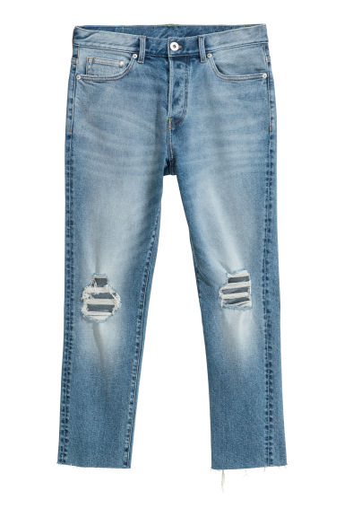 Cropped Relaxed Skinny Jeans - Light denim blue - Men | H&M CN