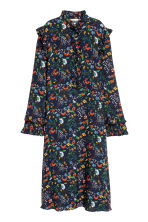 Frill-trimmed dress - Dark blue/Floral - Ladies | H&M 2